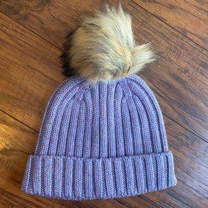 J Crew Ribbed Beanie Faux Fur Pom Pom Purple Wool